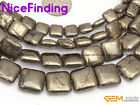 "Square Silver Gray Natural Pyrite Beads Lot For Jewelry Making Gemstone 15"" DIY"