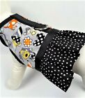 Dog Harness Vest With Black And White Polka Dot Ruffle Skirt
