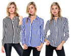 WOMENS LONG SLEEVE STRIPED COLLARED WEAR TO WORK CASUAL BUTTON DOWN SHIRT S-3XL