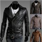 Newest Coming Slim Fit Punk Mens Synthetic Leather Biker Jacket Coat Blazer