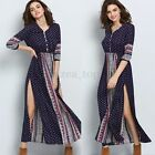 BOHO Womens Floral 3/4 Sleeve V Neck Split Casual Loose Long Maxi Dress Summer