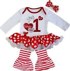 Baby My 1st Valentine's Day Bodysuit Tutu Party Dress Legging Pants Outfit
