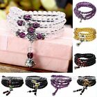 New Women Charm Purple Black Crystal Glass Beads Silver Cuff Bangle Bracelet