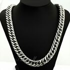 7/9/12/15mm MENS Chain Double Curb Silver Tone Stainless Steel Necklace 18-36''