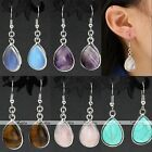 New Fashion Silver Crystal Rose Quartz Gemstone Ear Drop Dangle Hook Earrings