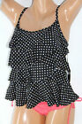 *NWT MIRACLESUIT Black White Dot Tiered Women's Swimsuit Tankini Top 8 NEW M17