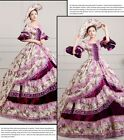 lady Victorian Gothic Period Ball Gown Theare purple cosplay zipper dress