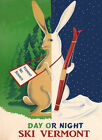 Ski Rabbit Day Or Night Vermont Skiing Winter Sport Vintage Poster Repo FREE SH