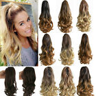 """20""""Beauty Claw on Ombre Long Curly Ponytail Pony Tail Hair Extensions Thick Hair"""