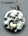 Round Heart I Love You Charm Dangle Necklace Bracelet Silver/Gold Look Metal NEW