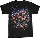 USA skulls t-shirt biker design tee shirt US flag American pride rebel shirt