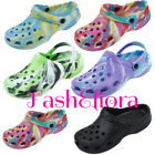 WOMEN'S LADIES NURSES TIE DYE GARDEN CLOGS SHOES SLIP ON RUBBER OUTDOOR CLOGS