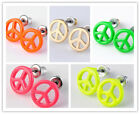 Fashion Fluorescent Peace Symbol Alloy Earrings Ear Stud Women Jewelry Cheap