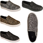 Ladies Womens New Girls Flat Slip On Casual Gym Glitter Pumps Skater Shoes Sizes