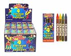 4 Mini Colouring Wax Crayons SUPER HERO Theme (Party Loot Bag Toys Fillers)