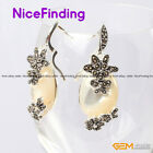 16x32mm Oval Stone Earrings Fashion Jewelry Tibetan Silver Marcasite Lady Gift