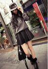 Girls New Fashion Cool Solid Leather High Waist Body Con Pleate Above-Knee Skirt