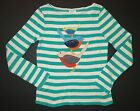 Mini Boden girls fall winter long sleeve animal applique stripe top tee shirt 12
