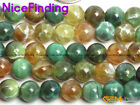 8mm Round Green Crackle Agate Stone Beads For Jewelry Making Gemstone 15'' DIY