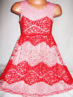 GIRL CORAL & LIGHT PINK CONTRAST LACE EVENING OCCASION PROM PARTY DRESS