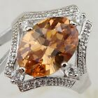 Size 6 7 8 Super Orange Citrine Gems Jewelry Gold Filled Woman Gift Ring R2404