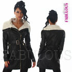 Sexy Women's Faux Leather Coat Jacket Trendy Outerwear Size 6 8 10 12  XS S M L