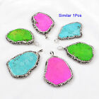 1Pcs Rainbow Howlite Turquoise Pendant With Paved Zircon AJ136