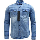 Mens Replay Long Sleeve Blue Shirt