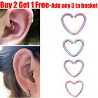 Surgical Steel Rainbow Heart Ring Hoop Helix Cartilage Tragus Daith Earring