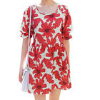 Ladies Pullover 3/4 Sleeve Round Neck Floral Print Unlined A Line Dress