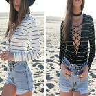 New Womens Tie Lace Up Blouse Striped Leotards Plunge Jumpsuits Dress