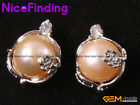 9-10mm Freshwater Pearl Earrings Fashion Jewelry Gold Plate Frame Stud 1 Pair