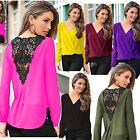 Sexy Fashion Women V-neck Tops Long Sleeve Shirt Casual Lace Blouse Loose shirt