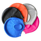 Silicone Swimming Swim Cap Unisex, Water UV Protection Flexible Black Ear Cup