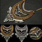 Vintage Women Bohemian Chunky Chain Tassel Luxury Silver Gold Crystal Necklace