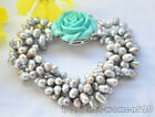 X0038 4Strds rice freshwater pearl flower bracelet necklace