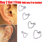 Surgical Steel Silver Heart With Pole Stud Ear Helix Daith Lobe Tragus Earring