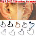 Surgical Steel Heart Ring With Pole Stud Earring For Ear Helix Daith Lobe Tragus