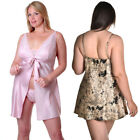 Plus Size Lingerie 1X 2X or 3X Pink or Black and Gold Satin Babydoll   VX5186X