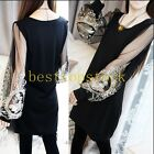 Mesh Sexy balloon sleeve puff sleeve Black White Long Shirt Round Collar T-Shirt