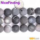 """Natural Round Frost Geode Druzy Agate Stone Beads For Jewelry Making Strand 15"""""""