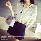 Fashion Chiffon Starfish Print Womens V-Collar OL Work Long Sleeves Shirts Nest