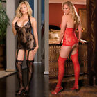 Plus Size Halter Lingerie Valentines Dress Black  Red or White DG0074X