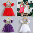 NEW Baby Kid Girls Princess Sequins Toddler Tulle Lace Tutu Party Dress Skirt