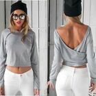Women Sexy Backless Solid Summer Casual Tank Tops Long Sleeve T-Shirt Blouse