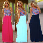 Women Summer Sexy Sleeveless Printing Dress Beach Dress Casual Dresses Size 6-14