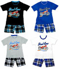Boys First One Motor Bike T-Shirt Top & Check Combat Shorts Set 2 to 14 Years