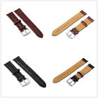 Unisex Cowhide Genuine Leather Stainless Steel Clasp Buckle Watch Band Strap New