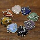 Women Silver Plated Heart Shape Gemstone Pendant For Dress Sweater Necklace
