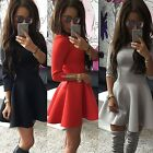 Fashion Women 3/4 Sleeve Pleated Solid Cotton Blend Mini Casual Dress skirt B20E
